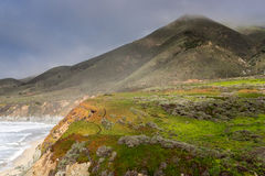 Foggy Coastline of the Pacific Ocean at Soberanes Point. Stock Image