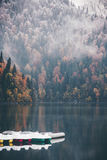 Foggy Coniferous autumn Forest and lake with boats Stock Photo