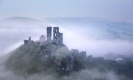 Foggy Corfe Castle Stock Image