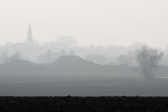 Foggy countryside and village. Producing a greyscale shade off Stock Photo
