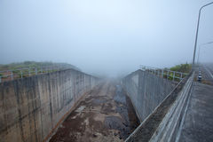 Foggy dams Royalty Free Stock Image