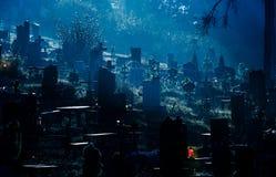 Foggy dark night on cemetery. Orthodox Halloween concept background stock photo