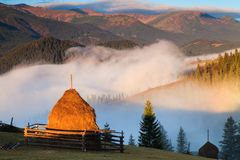 Foggy dawn in the autumn in the mountains. Stock Image