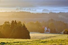 Foggy dawn over the Bohemian Switzerland Royalty Free Stock Photos
