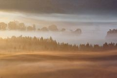 Foggy dawn over the Bohemian Switzerland Royalty Free Stock Images