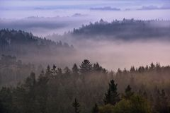 Foggy dawn over the Bohemian Switzerland Stock Photography