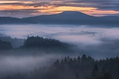 Foggy dawn over the Bohemian Switzerland Stock Photo