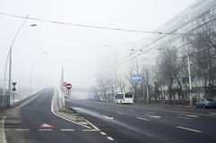 Foggy day in Bucharest Royalty Free Stock Photos