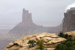 Foggy Day at Canyonlands National Park. Fog rain and clouds at the Island in the Sky district of Canyonlands National Park near Moab, Utah Royalty Free Stock Photography