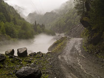 Foggy day - Caucas. Foggy rainy day in Georgia. Route to Mestia Stock Photography