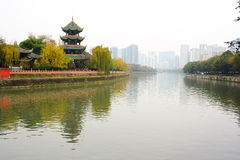 Foggy day in chinese park. Chongqing city. China Royalty Free Stock Photo