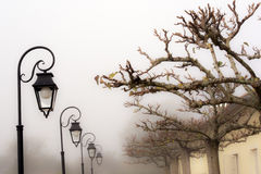 Foggy day at countryside in France Royalty Free Stock Photos