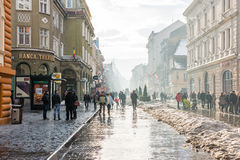 Foggy Day In The Historical Old Center Of Brasov royalty free stock image