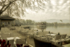 Foggy day on lake Pamvotis, Epirus, Greece Stock Image