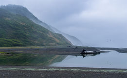 Foggy Day at the Lost Coast. Northern California. Reflections Royalty Free Stock Images