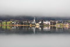Foggy day at the Ossiacher See Stock Photography