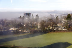 Foggy day in the outer district of Bern Royalty Free Stock Photo