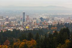 Foggy Fall Day over Downtown Portland Oregon USA Royalty Free Stock Photography