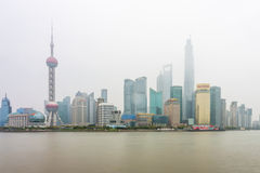 A foggy day in Pudong landmark Royalty Free Stock Images