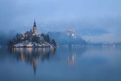 Foggy evening on Bled lake. In Slovenia, Europe Stock Images
