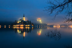 Foggy evening on Bled lake Royalty Free Stock Images