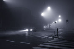 Foggy evening in the city Stock Image