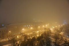 Foggy evening in the city stock photography