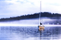 Foggy Evening in the Harbor Royalty Free Stock Photography