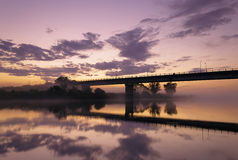 Foggy evening on the river. Stock Image