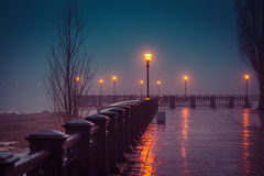Foggy evening at the waterfront Taganrog winter royalty free stock photography