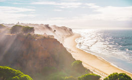 Foggy in the Falesia beach Royalty Free Stock Image