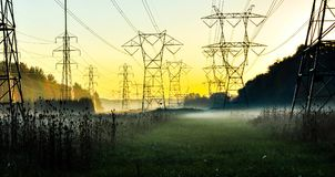 Foggy field. Power line field entrenced in morning fog with sunrise background Royalty Free Stock Image