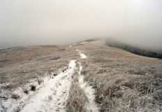 Foggy and frosty landscape of mountains. Bieszczady. Poland Royalty Free Stock Photography