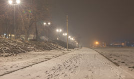 Foggy frozen night, pedestrian way Royalty Free Stock Image