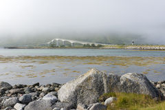 Foggy Gimsoystraumen Bridge on Lofoten Islands Stock Photo