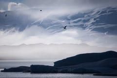 Foggy glacier lake Stock Photo