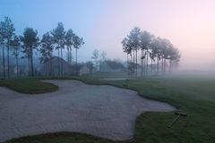 Foggy golf course Royalty Free Stock Photos
