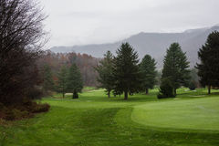Foggy Golf Course Landscape Stock Image
