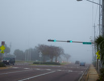 Foggy haze morning in Florida with traffic cars Stock Photo