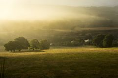 Foggy hills in Galicia Spain royalty free stock photos