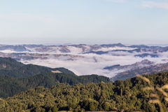 Foggy hills Stock Images