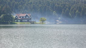 Foggy home in abant lake. Abant bolu foggy house, bolu most beautiful lake Royalty Free Stock Images