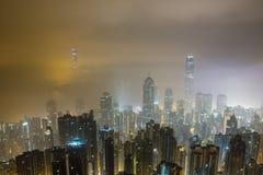 Foggy Hong Kong Night View Royalty Free Stock Photos
