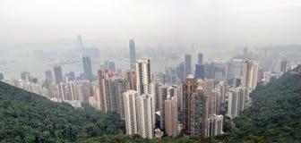Foggy Hong Kong Skyline Stock Images