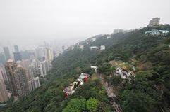 Foggy Hong Kong Skyline Stock Image