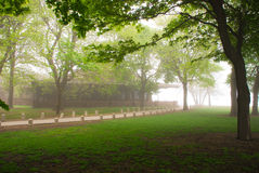 Foggy house. Picture of a house, foggy morning in Chicago stock photography