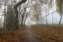 Foggy. A foggy image of a Basingstoke public park/fields, Hampshire Stock Photo
