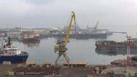 A foggy january morning at the cargo port. Baku, Azerbaijan. BAKU, AZERBAIJAN - JANUARY 04, 2018: A foggy january morning at the cargo port stock footage