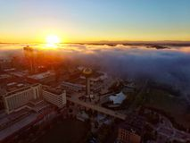 Foggy Knoxville Sunrise. Downtown Knoxville Worlds Fair Sunrise Fog picture Royalty Free Stock Photos