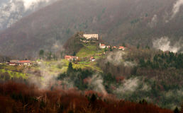 Foggy Kostel castle, Slovenia. Foggy Kostel castle in Slovenia, central Europe Stock Photo